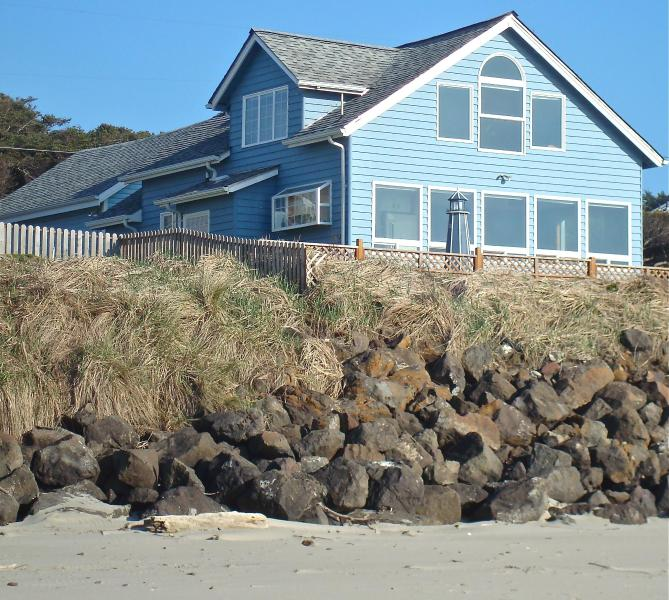 Main House as seen from sandy beach  at foot of stairs - Oceanfront house,guesthouse,hot tub-5star reviews! - Yachats - rentals