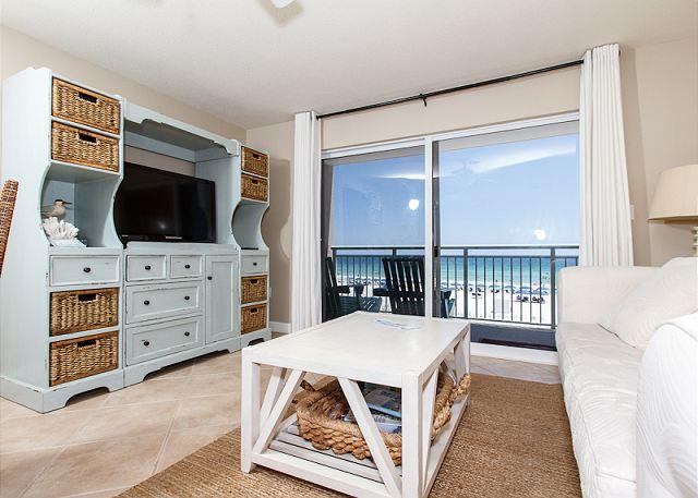 Living Room - PI 212: Beautiful view from private BEACH front balcony! Free Beach Service - Fort Walton Beach - rentals