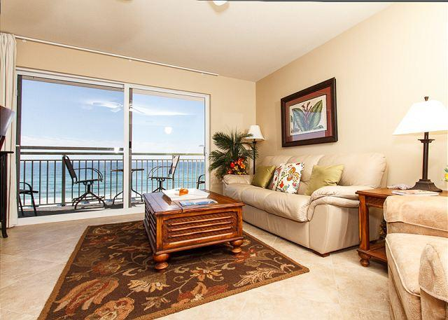 The living room features fresh new paint, a new flat screen TV a - PI 410:Gorgeous beach front condo! Full kitchen, WiFi,Free Beach Service - Fort Walton Beach - rentals