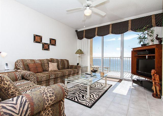 This spacious safari themed unit has amazing top floor(6th) view - GD 603:Beachfront,top floor2BDRM,WiFi,great furnishings,amazing view,bch svc - Fort Walton Beach - rentals