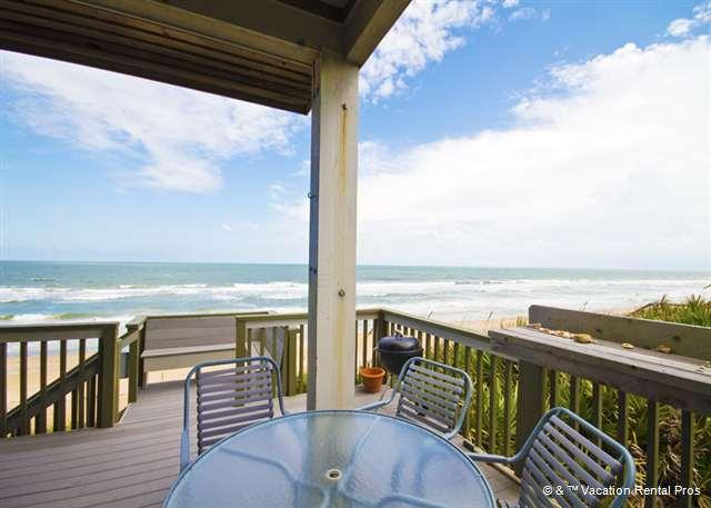 Dash your cares away on our ocean view outdoor deck! - Yellow Sunrise Beach House, OceanFront on high dune - Saint Augustine - rentals