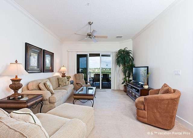 Settle into our designer living room - 942 Cinnamon Beach, Resort, 4th Floor, 2 Pools, Huge HDTV, Wifi - Palm Coast - rentals
