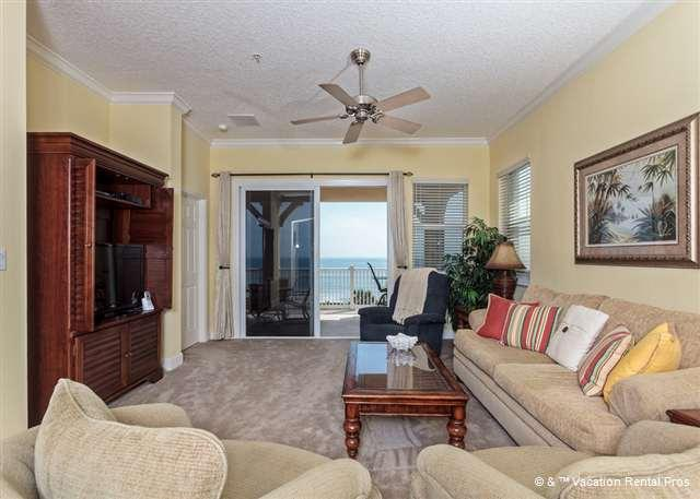 Watch TV and relax in the casually elegant living room - 645 Cinnamon Beach, 4th Floor, Ocean Front, Corner, Wifi, HDTV - Palm Coast - rentals