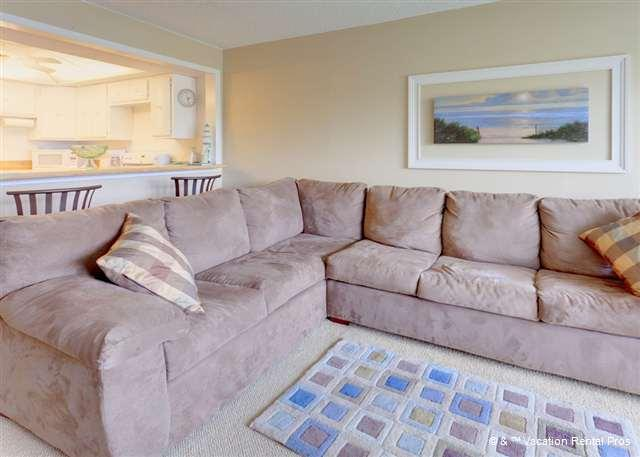 Our comfy, beautiful couch has plenty of room for everyone - Pelican Inlet B114, pool, tennis & boat dock - Saint Augustine - rentals