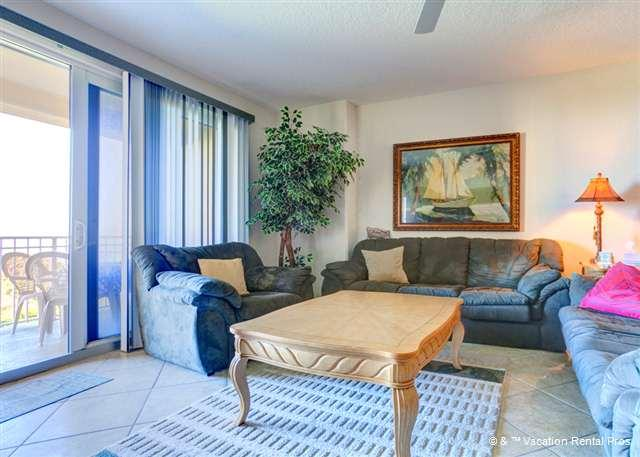 Our beautiful living room features ocean views - Surf Club II 305, Beach Front, Ocean Front Pool, HDTV, 3 pools - Palm Coast - rentals