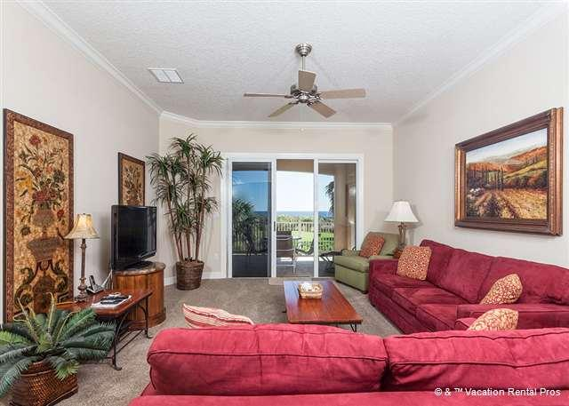 Our beautiful living room, ocean views & HDTV are a delight - 624 Cinnamon Beach, Ocean Front and Beach Front, 2nd Floor, HDTV - Palm Coast - rentals