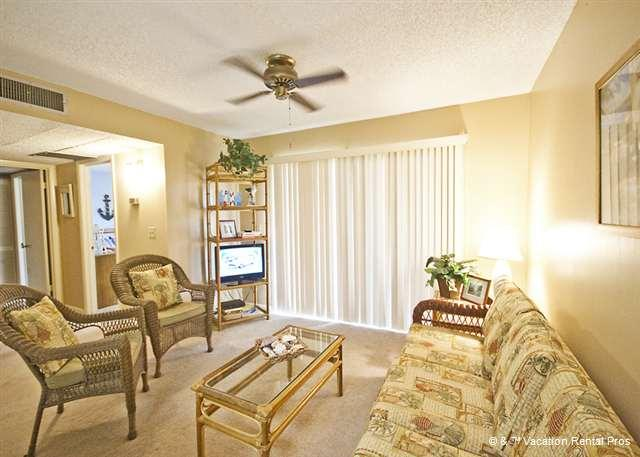 A view of our beautifully furnished condo living room - Ocean Village D16, Ground Floor Unit, HDTV with pools, wifi - Saint Augustine - rentals