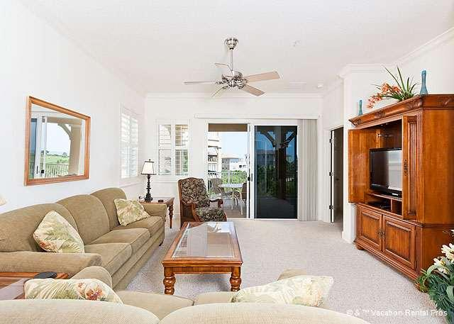 Living room with beautiful furniture & golf & ocean views - 231 Cinnamon Beach Oceanview and Golf Course, New HDTV - Palm Coast - rentals