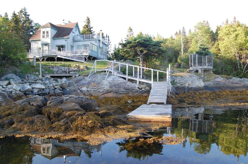 House with dock from cove - Stunning Secluded Oceanfront Home near Lunenburg! - Lunenburg - rentals