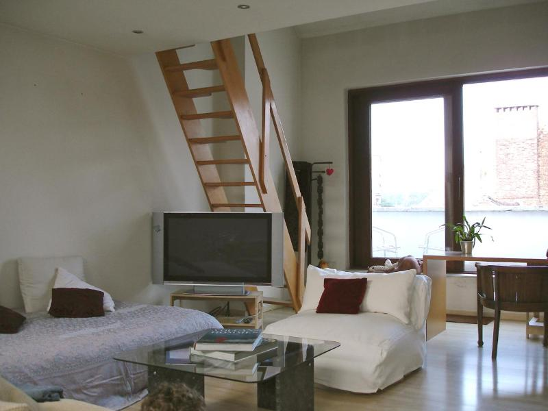View of living room, sitting area - NEW - Beautiful loft apt in period house near EU quarter - Brussels - rentals
