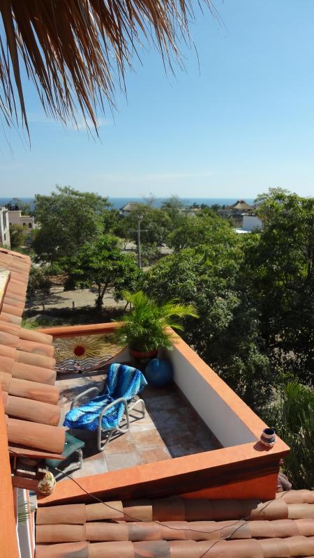 Ocean view from upper deck - 2 Bedroom Casa Steps from the Beach - Puerto Escondido - rentals