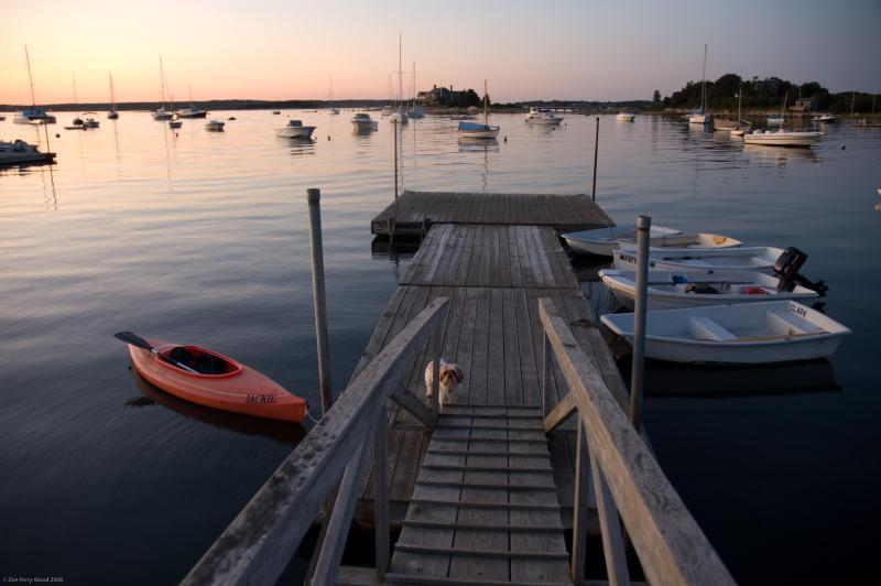 View of the Dock and Harbor at Sunset - Waterfront Home: Tennis Court, 2 Decks, Boat Dock - Cataumet - rentals