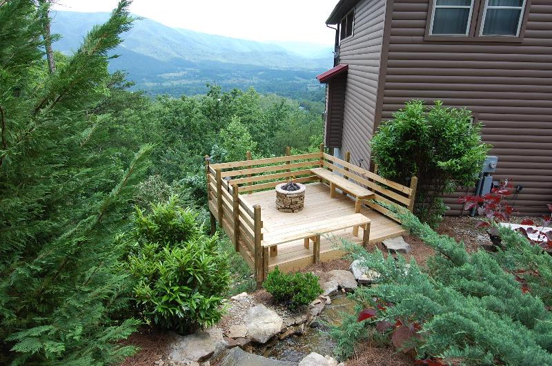 Spectacular View overlooking Wears Valley. Landscaped Waterfall,Deck with Stacked Stone Gas Fire Pit - SECLUDED,25 Mile View,Theater Rm,Firepit,Waterfall - Pigeon Forge - rentals