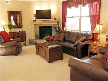 Leather Furniture Set, Slate Tiled Fireplace, 42