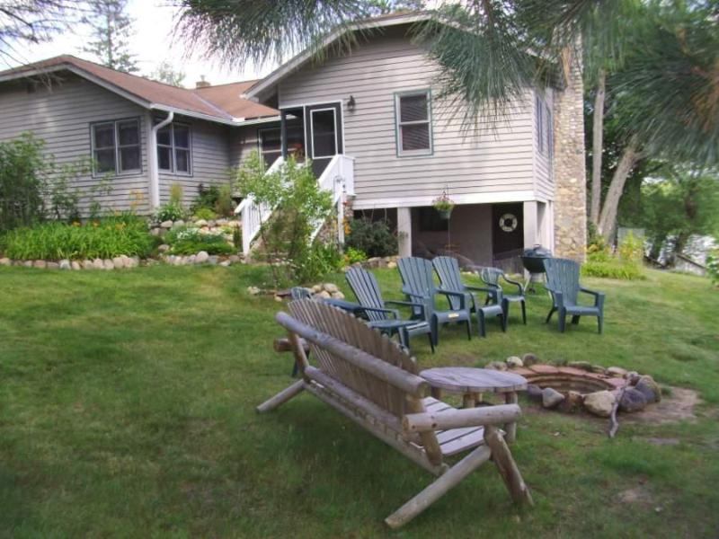 The Lodge at Pike Bay fire pit area - Panoramic lakefront views Large 3bdr. 2 ba. Lodge - Eagle River - rentals