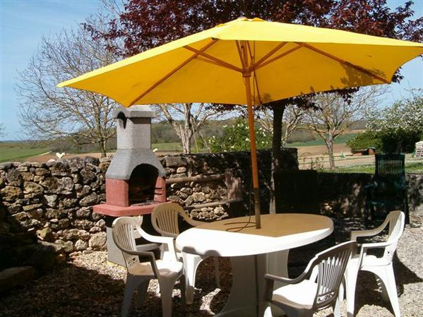 Rear patio dining and bbq - Farm Cottage, near La Tour Blanche,  Aquitaine, SW France - La Tour-Blanche - rentals