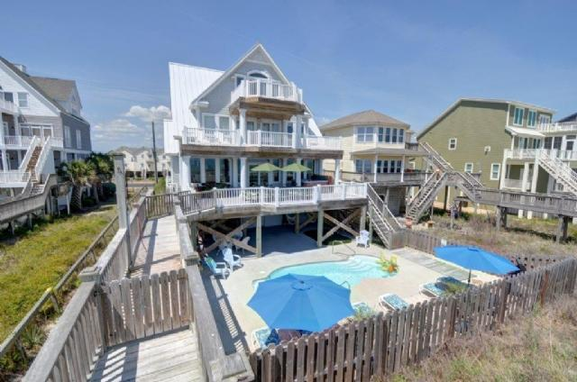 Moondance from Ocean Walkway - MOONDANCE Direct Oceanfront, Pool,Hot Tub,Elevator - North Topsail Beach - rentals
