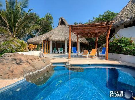 Looking from infinity pool into house - Exotic, Elegant Oceanfront Palapa - Punta de Mita - rentals