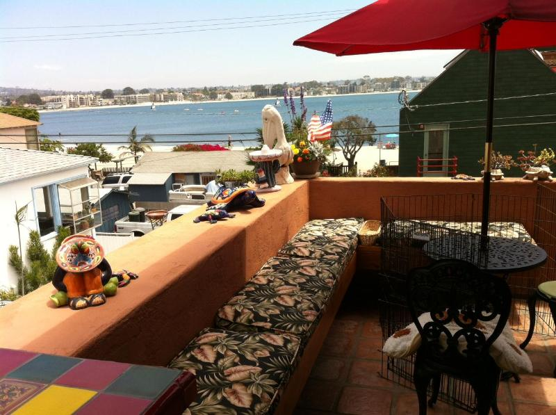 Balcony & Bay View Off Living Room - Fabulous Home in Heart of Mission Beach - Pacific Beach - rentals