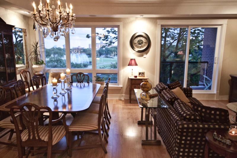 Living room dining room overlooking the Commons at dusk - 3 Bedroom Executive Condo in the Heart of Halifax - Halifax - rentals