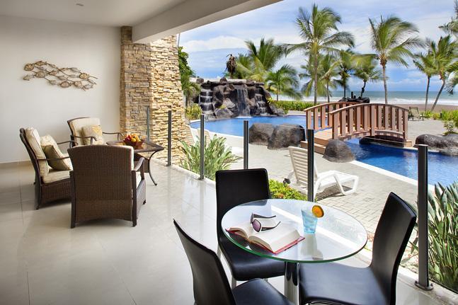 Condominium terrace right in front of the pool - 2 bedroom ocean front condo at Diamante del Sol - Jaco - rentals