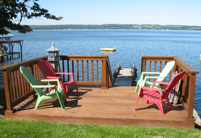 Deck  and  Lake - Beautiful Seneca Lake - Lakefront Cottage - Geneva - rentals