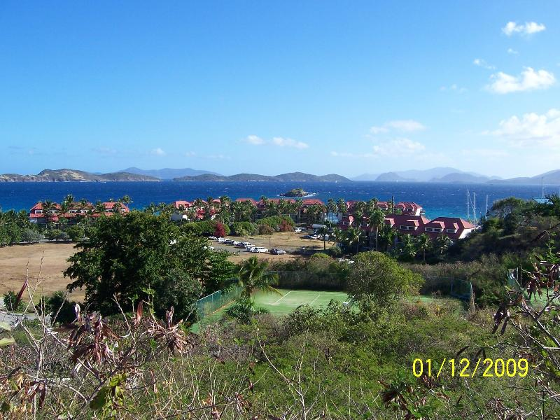 View from the top of the hill near the entrance to the resort. - Beachfront Villa with a Down Island View-Priceless - Saint Thomas - rentals
