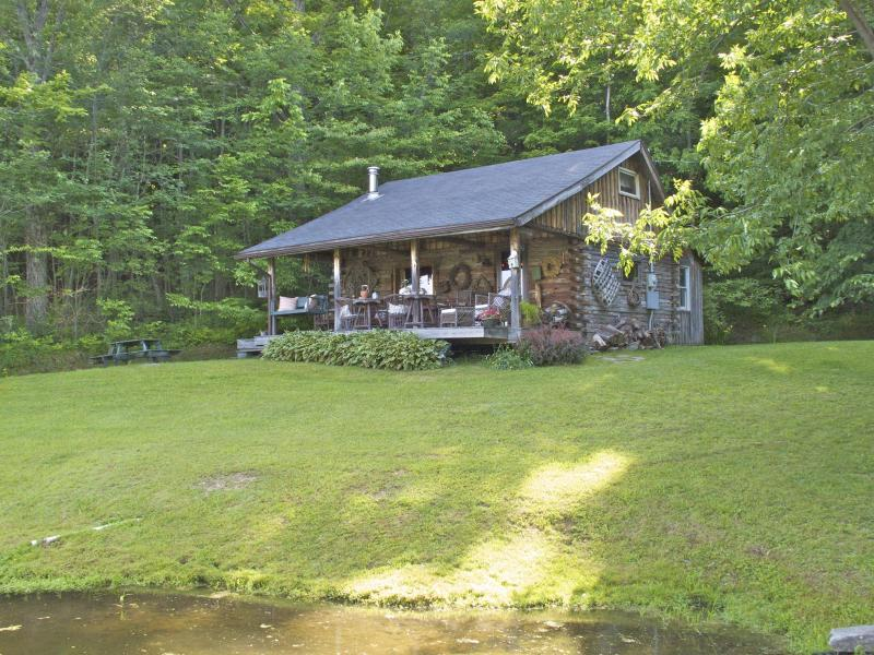 Front View of Cabin - Charming Woodland Log Cabin on Private Pond - Great Valley - rentals
