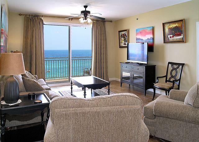 Living Area with Gulf View - Beautiful Beachfront 5th Floor Condo for 8, Open Week of 4/25 - Panama City Beach - rentals