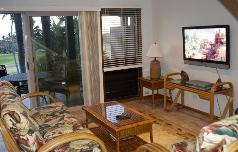 Living Room with a knockout view... - Excellent Two Bedroom Condo at Sea Mountain Resort - Pahala - rentals