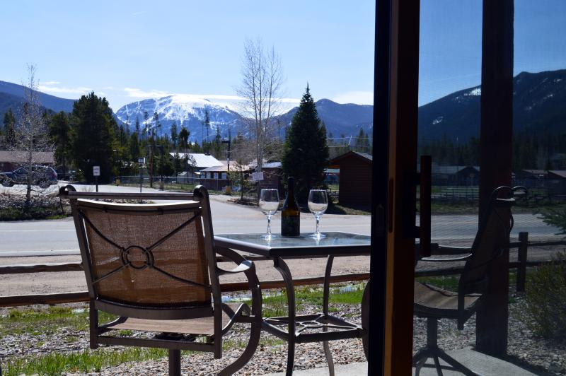 Our Private Back Patio with View of Mt. Baldy - Modern 2 Bedroom Condo in the Grand Lake Village - Grand Lake - rentals