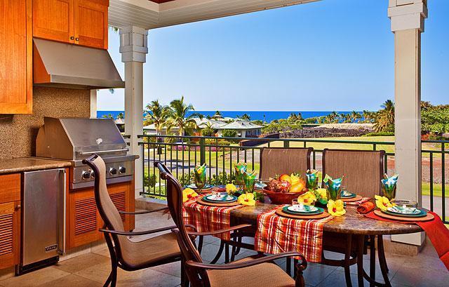 """Kolea Villa 1E - Lanai Kitchen/Dining with Ocean Views! - Kolea Villa 1E ~ Ocean View ~ """"Tropical Paradise"""" - Waikoloa - rentals"""