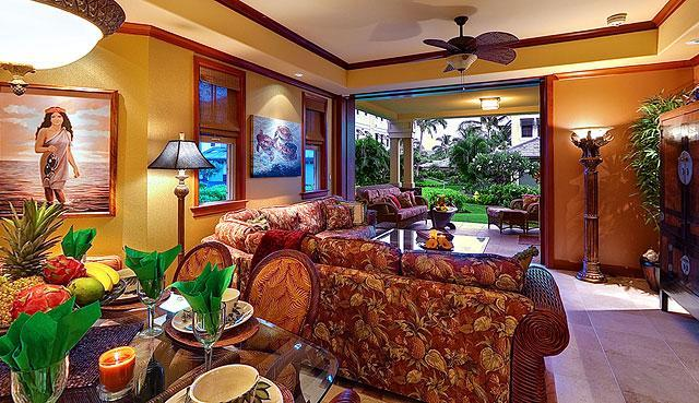 "Kolea Villa 9A - Great Room/Dining with Lanai BBQ/Kitchen - Kolea Villa 9A ~ Garden View ~""Slice of Heaven"" - Waikoloa - rentals"