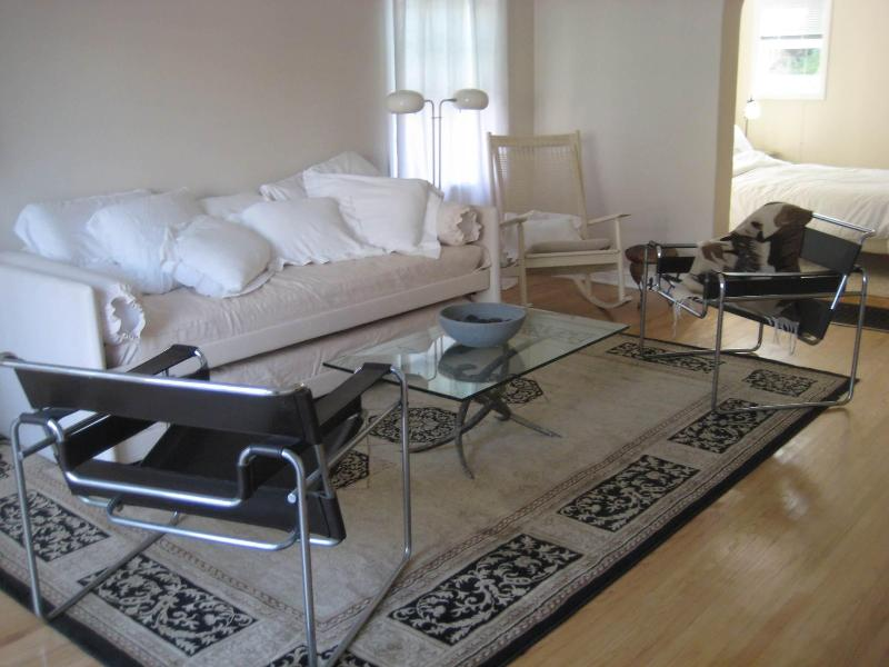 Living area has all European furnishings, e.g., Wasily chairs, Italian day-bed for extra guests. - Hollywood-Mid-Wilshire-Melrose Apt near Grove, CBS - Los Angeles - rentals