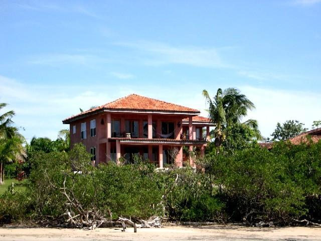 Casa Fuego from Beach looking at house - Ocean Front Home with pool on swimming beach - Playa Negra - rentals
