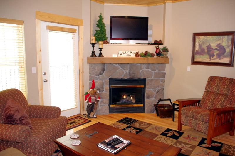 Living Room Fireplace - Listing #391805 - Creekside Chalet- No Cleaning Fee, Winter Deals! - Government Camp - rentals