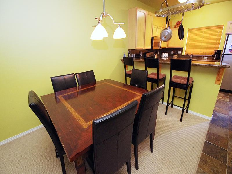 Dining Room Table & Breakfast Bar - Listing #391806 - Collins Lake Resort- Pool, Nearby Hiking! - Government Camp - rentals