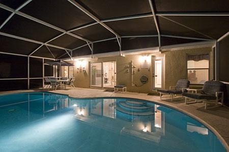 Night Time Pool Area - Awesome! - Luxury Florida Villa (Pool, FREE Wi-Fi, Gameroom) - Davenport - rentals