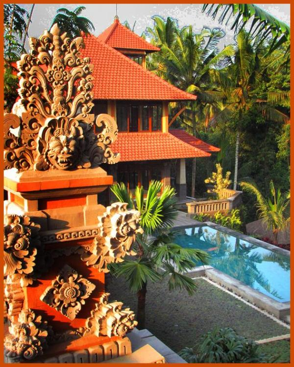 The house and pool from the ceremonial temple - Huge Secluded Luxury Villa Minutes from Ubud - Ubud - rentals