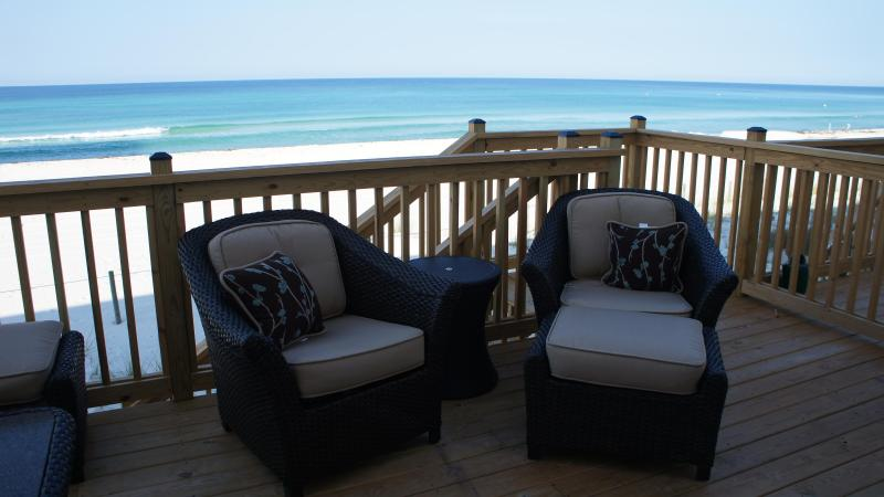 Deck overlooking gulf with extradeep seating - Luxury 4 Bedroom townhome directly on the Gulf - Panama City Beach - rentals