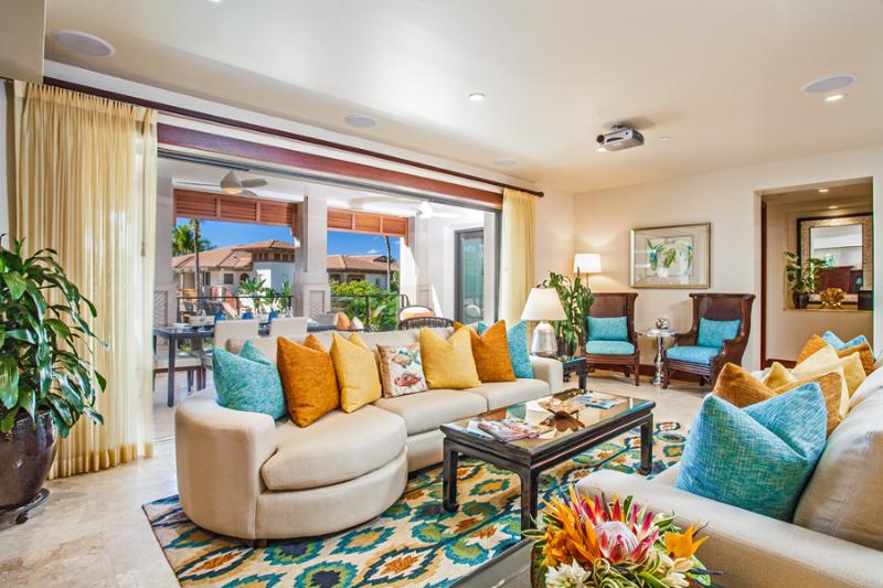 Castaway Cove C201 - Spacious Ocean View Great Room and Alfresco Covered Terrace with Lounging Area - Castaway Cove C201 at Wailea Beach Villas - Wailea - rentals