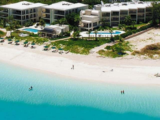 Aerial view of White House - 3 b/rVilla on the finest snorkeling reef on Grace Bay beach - Providenciales - rentals