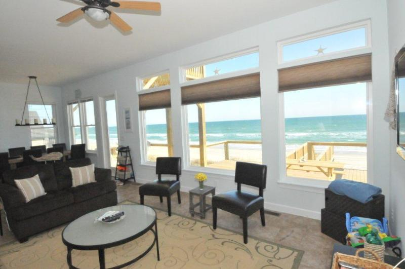 Living room open to kitchen and dining room - Salty Paws - Oceanfront Home in Topsail Beach NC - Topsail Beach - rentals