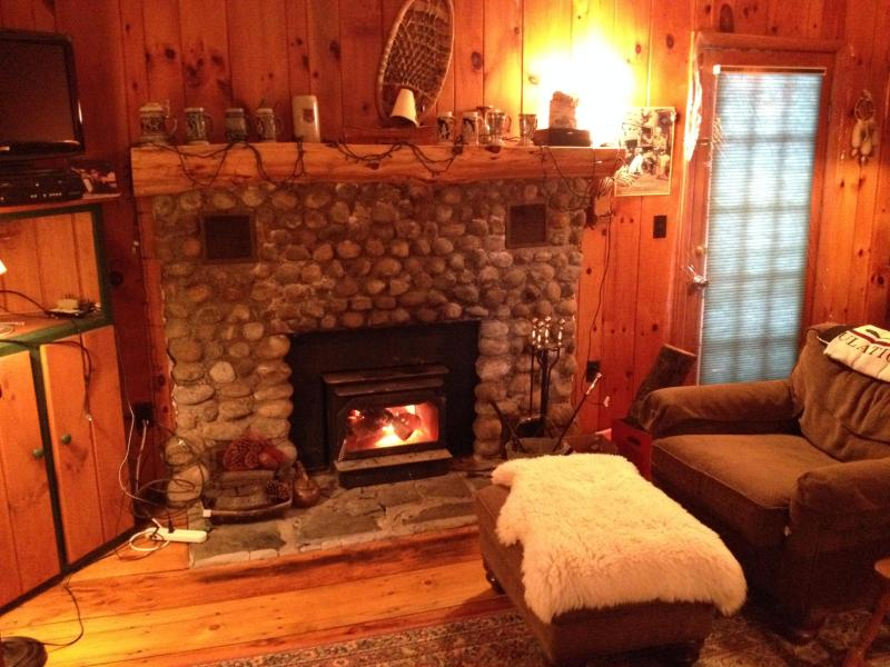 Cozy stone hearth fireplace - Delightful Mountain Cottage on pristine lake - Chestertown - rentals