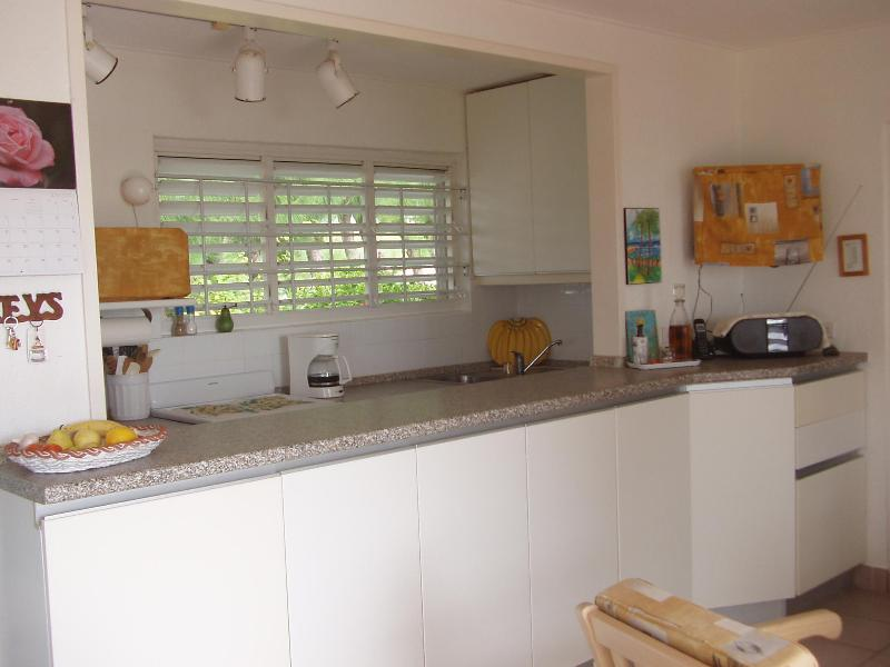 Galley Kitchen with pass through to Living Area - One Bedroom Condo on the south coast of Barbados - Christ Church - rentals