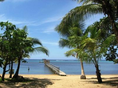 Beach towards the dock and beyond to the reef wave - Secure Luxury Beachfront Home with private dock! - Roatan - rentals