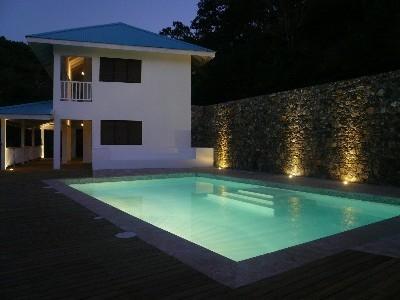 Poolside terrace (looking at VillaNoria Azul) - New Hilltop Villa, Magnificent Sea Views! - Las Terrenas - rentals
