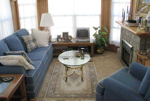 Living room with sofa sleeper & 4-season fireplace - Lovely Park Model in Saugatuck - Saugatuck - rentals