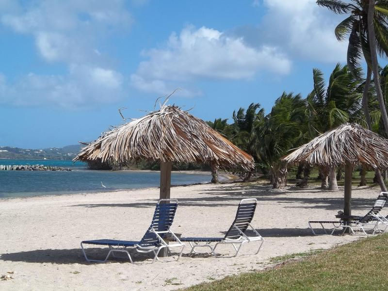 Tiki huts on our quiet beach - View sand and sea from our renovated condo - Christiansted - rentals