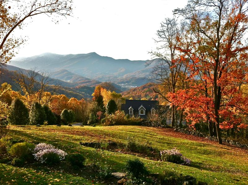 fall view from porch - Crestview Pointe'-Secluded Smoky Mountain Home - Waynesville - rentals